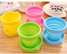 4PCS/SET Portable Green Food Grade Silicone Retractable Folding Cup Telescopic Collapsible Travel Outdoor Sports