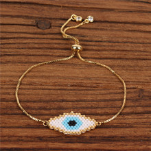 Trendy Miyuki Glass Beads Weave Bracelet Women Handmade Made Devils Eye Zircon Box Chain Slide Bracelets Female Pulsera Bijoux