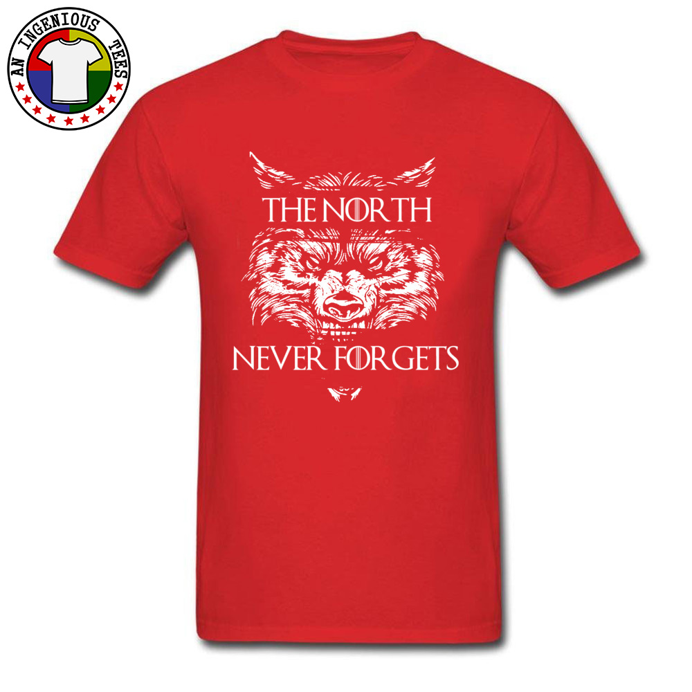 Men T Shirts The-North-Never-Forgets Printing Tops T Shirt Cotton Fabric Round Collar Short Sleeve Slim Fit Tshirts Autumn The-North-Never-Forgets red