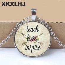 2018 TEACH LOVE INSPIRE,Teacher jewelry,Teach Love Inspire charm,Gift for Teacher,Daycare provider, Teacher charm necklace