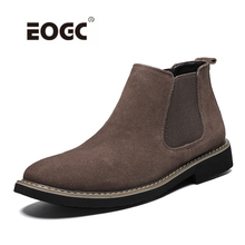 Suede Leather Men Boots Short Ankle Boots,Retro Slip-on Chelsea Boots Quality Handmade With Fur Autumn And Winter Shoes цены