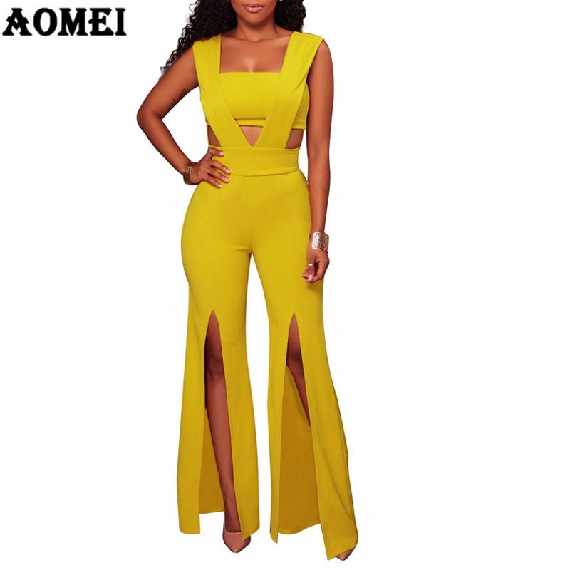Women Overalls Jumpsuit Sexy Hollow Out Split Pants Elegant Patchwork Sleeveless with Zipper Femme Office Wear Casual Clothing