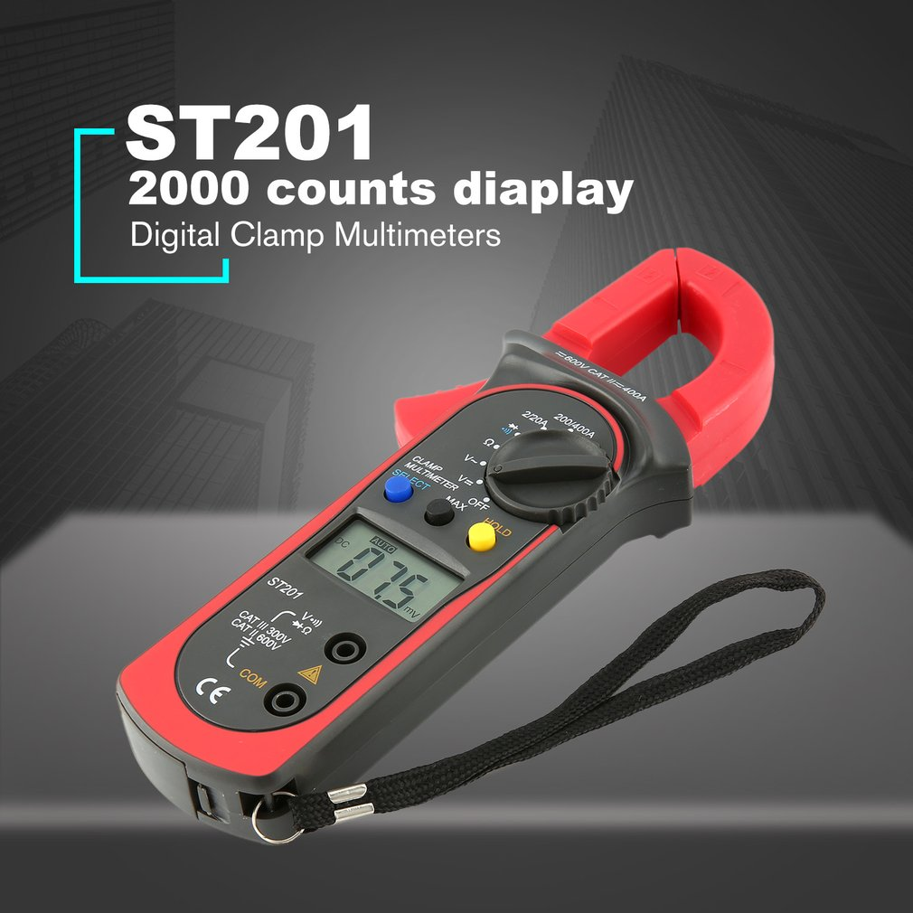 ST201 2000 Counts Digital Clamp Meter Digital Ammeter AC/DC Voltage Tester Resistor Diode Continuity Test Data Hold|Clamp Meters|Tools - title=