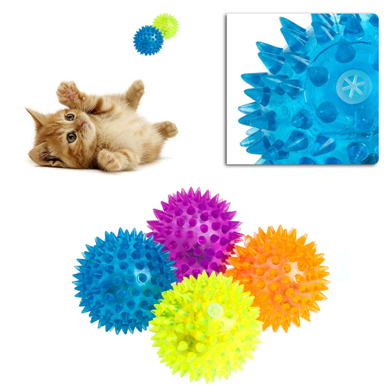 Pet Products Cat Toys Dog Puppy Cat Pet Led Whistle Squeaker Rubber Chew Bell Ball Playing Toy 6.5cm Diversified In Packaging