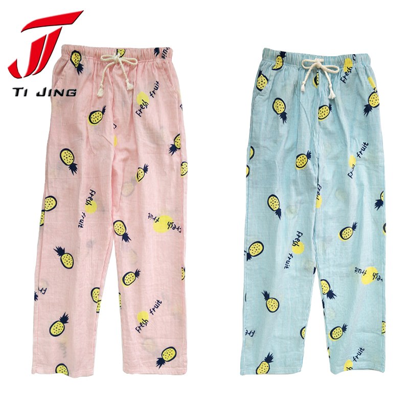 Summer cotton line home pants women sleep bottoms lovely pajama cartoon plus size pineap ...