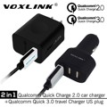 VOXLINK Qualcomm Quick Charge 3.0 18W USB Wall Charger QC 3.0 US Fast Charging Plug With Quick Charge 2.0 42W 3 Port Car Charger