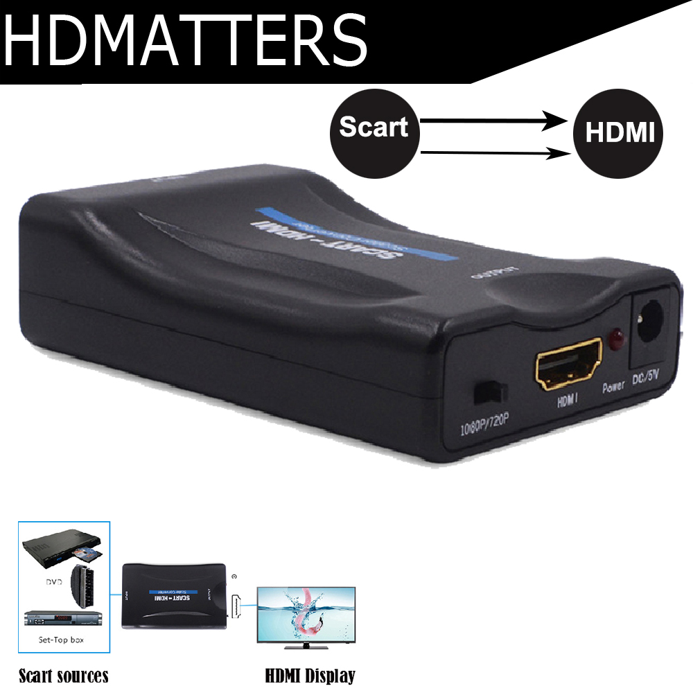 HDmatters composite Scart to hdmi converter adapter HDMI in to Scart out with power supply cable