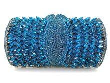 Stilvolle Herz muster Hochzeit Brautjungfer Sparkly Kristall Kupplung Blau Abendgesellschaft Geldbörse Frauen Soiree Pochette Bankett Tasche 88218