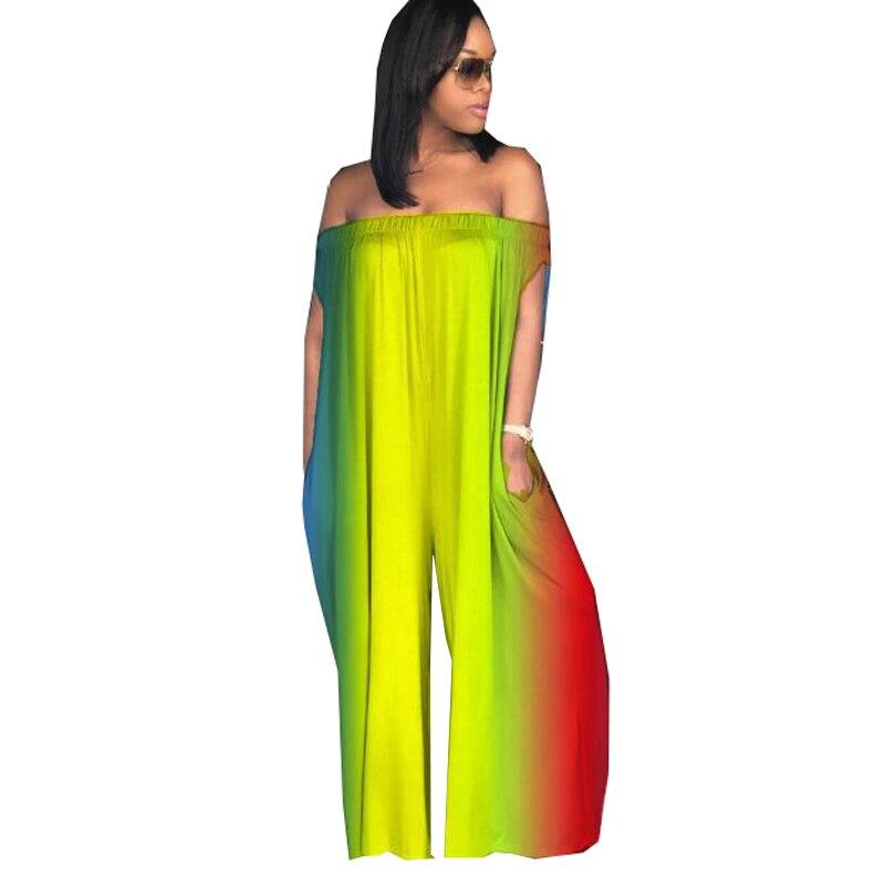Women Rainbow Printed Strapless Off Shoulder Jumpsuit Sexy Slash Neck Sleeveless Wide Leg Romper Plus Size Loose Casual Jumpsuit