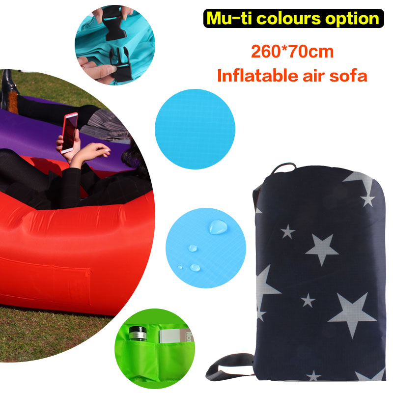 210D Grid 260*70cm material portable air beach bed Fast Inflatable Camping Sofa banana Sleeping Bag lounger lazy laybag Air Bed lazy sofa wholesale air ounger bag camping for beach laybag saco de dormir acampamento inflatable kaisr laybag z126