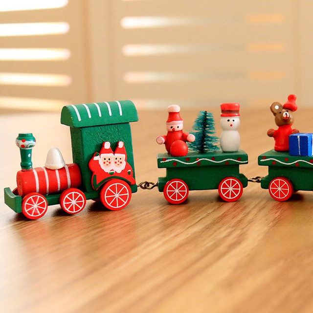new Christmas train painted wood with Santa/bear Xmas kid toys gift ornament navidad Christmas Decoration for home new year gift 3