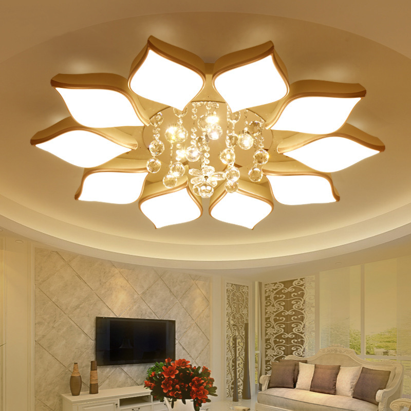 Led Ceiling Lamp Living Room Round Crystal Lamp Petal Shape Ceiling Fan Light Simple Modern Bedroom Lamp Led Panel Light Back To Search Resultslights & Lighting Ceiling Lights