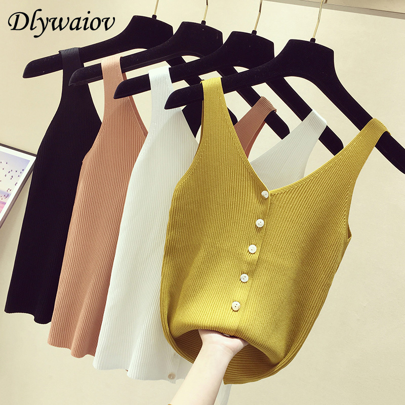 Fashion Button Knit Vest Women Top Camisole Female Solid Elastic Knited Slim Sleeveless Tops Femme 2020 Summer Casual Camis New