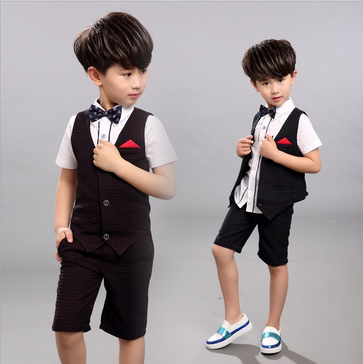 summer children clothes boys set dot vest short pants suits for wedding toddler kids tuxedo