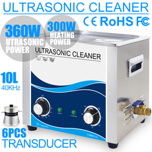 360W 10L Ultrasonic Cleaner Stainless Steel 304 Bath Ultrasound Washer Remove Oil Stain Rust Wax Chains Hardware Dental Car цена и фото