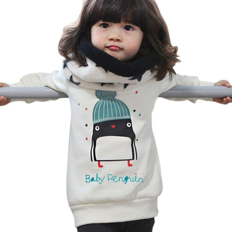 Baby Girls Winter Cashmere Clothes Tops 2018 Penguin Pattern Long Sleeve Warm Blouse Toddler Kids Cotton Pullover Thick Sweater