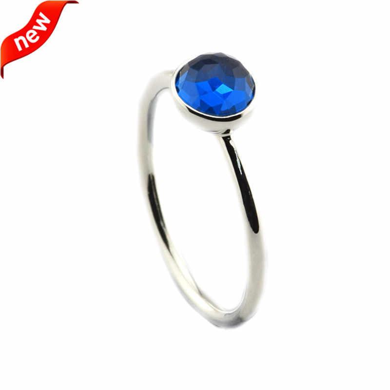 เหมาะกับเครื่องประดับยุโรปธันวาคมหยดแหวนเงิน London Blue คริสตัล 925 เงินสเตอร์ลิงแหวนเงินผู้หญิง DIY เครื่องประดับ 2016