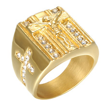 Jewelry Jesus Cross White Cubic Zirconia Ring for Men Gold Tone Stainless Steel Crucifix CZ Band Male