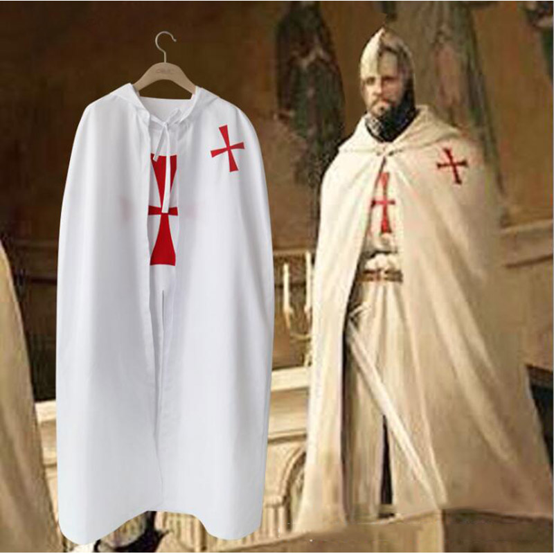 Halloween Knights Templars Cosplay Tunic Costume For Man Adult Historical MEDIEVAL WARRIOR White Cloak Robe Cape Gift