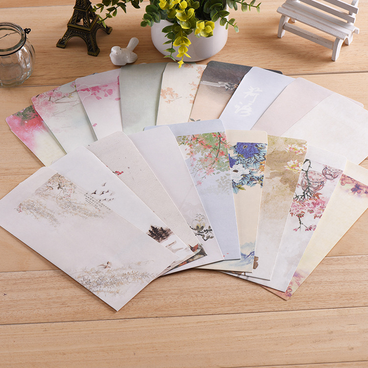 18Pcs/Set Aestheticism Chinese Style Envelope Archaic Hand-painted Ink Style Colored Envelopes
