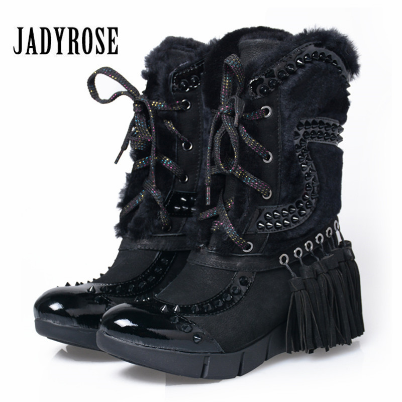 Jady Rose 2018 New Women Winter Warm Snow Boots Fringed Rivets Lace Up Fur Boots Female Platform Botas Mujer Flat Shoes Woman купить в Москве 2019