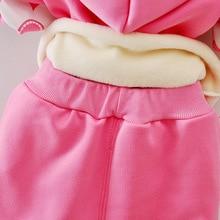Toddler Girls Winter Clothing Set Kids Girl Flower Outfits Fleece Warm Hoodies Coat+Pant 2Pcs Children Autumn Clothes Suit