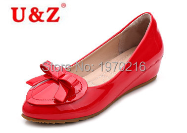Love shape patent Leather Candy colors kitten heels small bow,Plus big size women height increased shoes wedding Spring/autumn