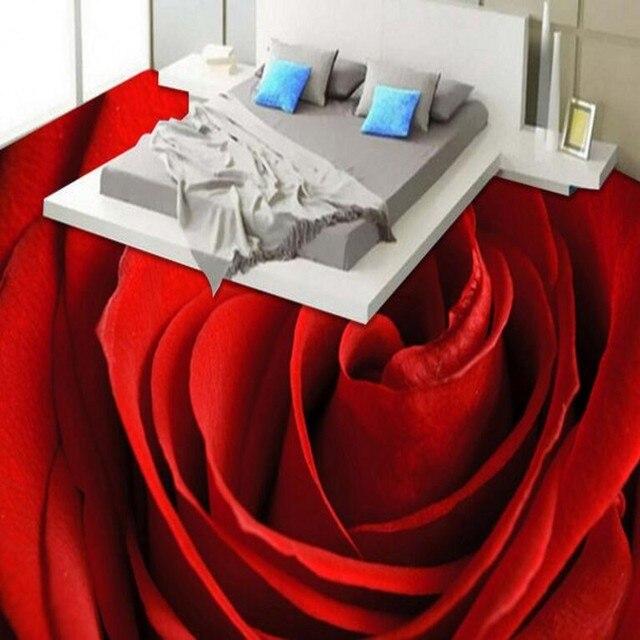 Beibehang Large Custom Flooring Aesthetic Romantic Red Roses Waterproof Anti