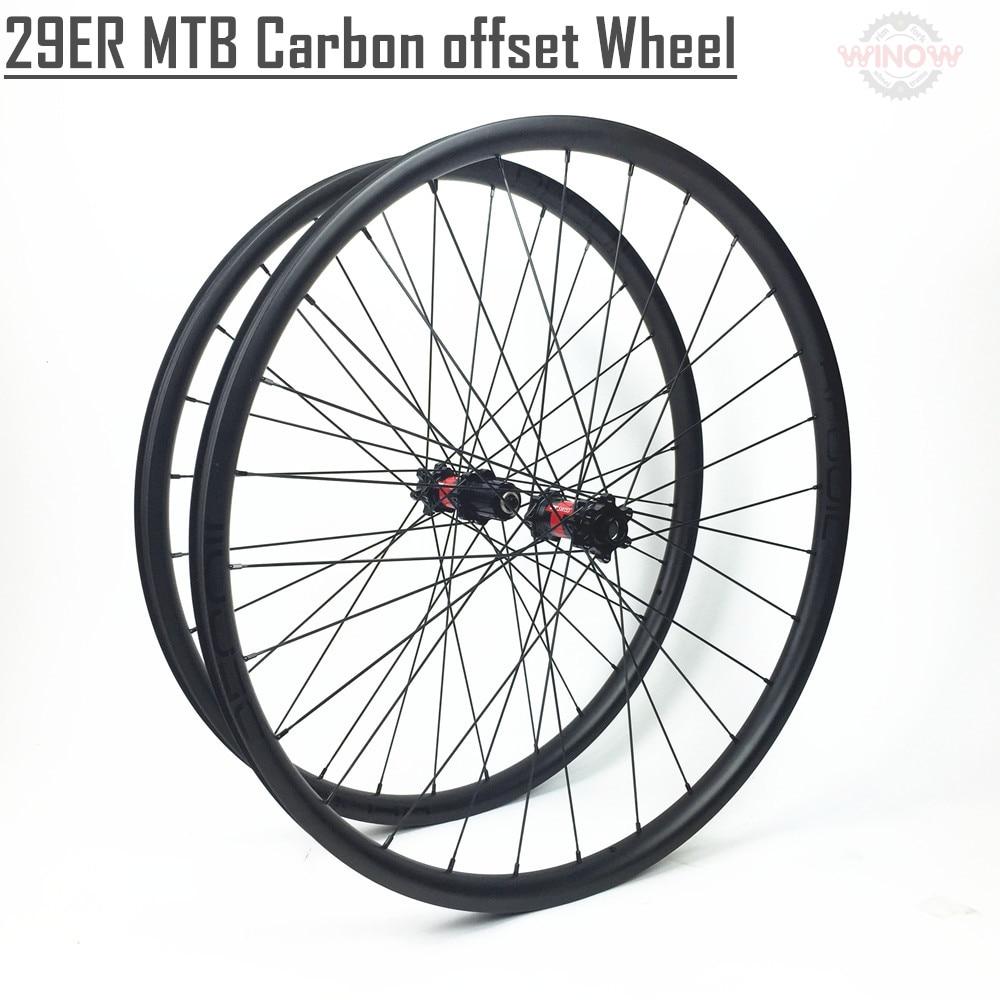 Winowsports 29er carbon mtb wheel XC 29 moutain bike asymmetric hookless tubless rim super light weight 29inch wheel