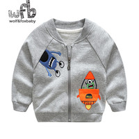 Retail 1 8 Years Cotton Round Neck Cartoon Baby Zipper Baseball Clothing Casual Jacket Children Spring