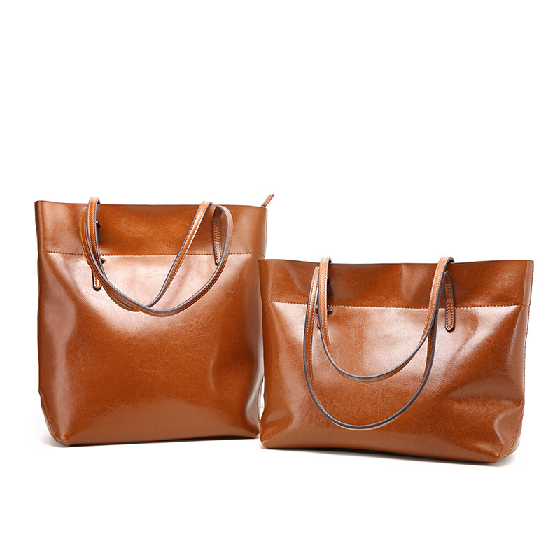 QIANGSHILI Brand Vintage Soft Oil Wax Leather Tote Big Retro England Style Luxury Handbags Women Bags