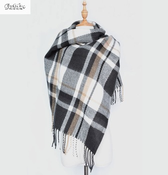 Autumn and winter long shawl, the new plaid scarf, cashmere thkened tassel scarf, large mantillas