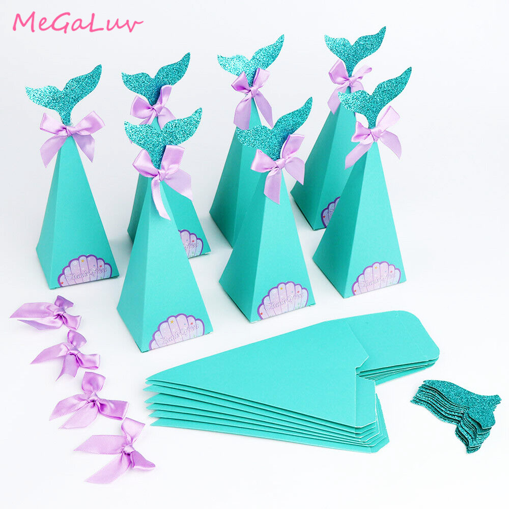 10pcs Mermaid Birthday Party Decorations Favor Box DIY Paper Box Bags Baby Shower Boy Girl Little Mermaid Candy Boxes