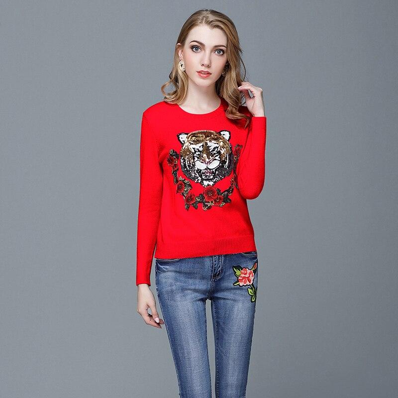 Symbol Der Marke 2018 Neue 3 Farben O Neck Tiger Kopf Pailletten Stickerei Pullover Frauen Jumper Pullover Langarm-strickpullis Pull Femme Dauerhafte Modellierung
