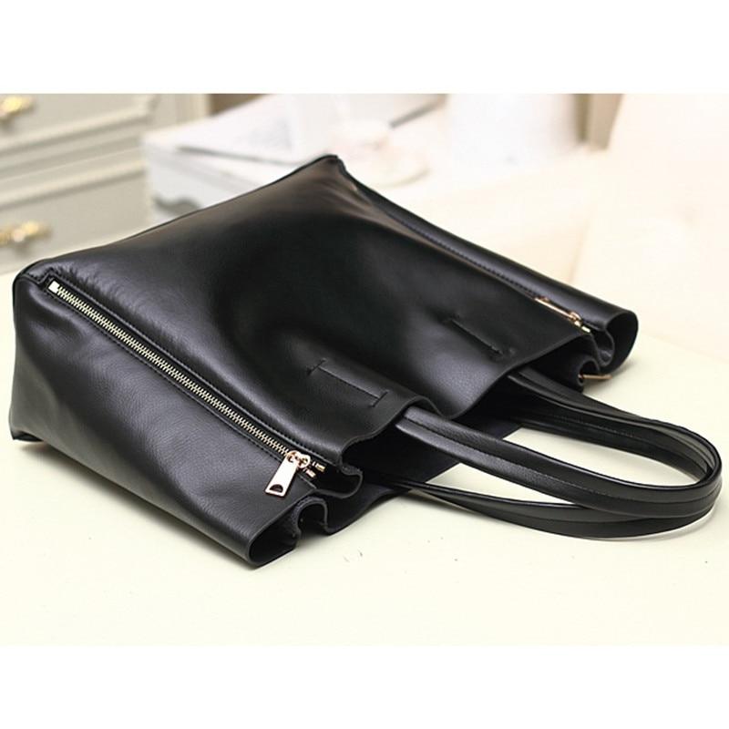 2017 modë Qese e zezë lëkure e zezë lëkure çanta për gratë - Çanta dore - Foto 3