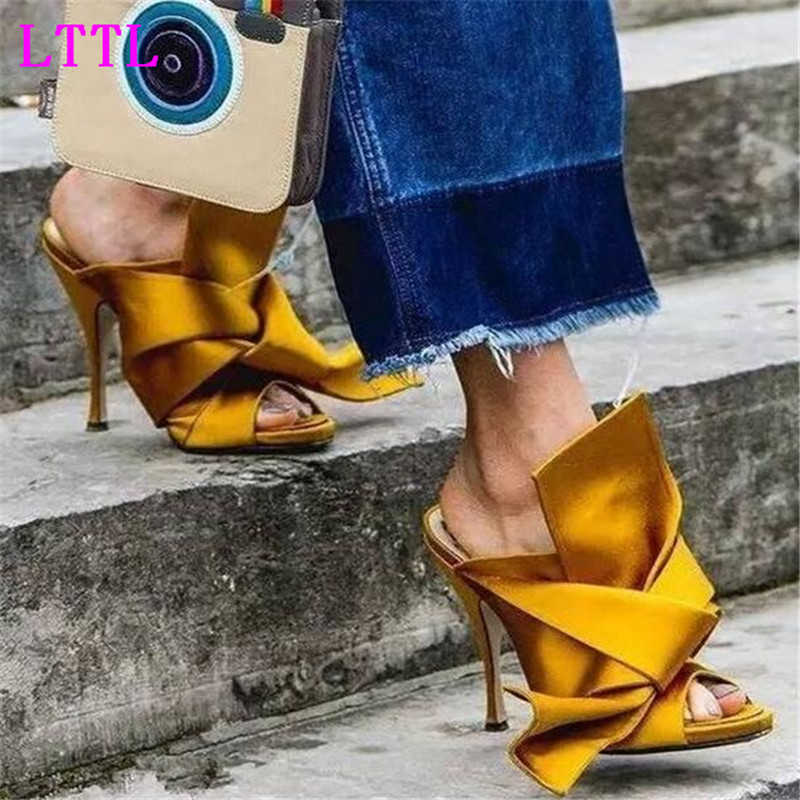 berdecia Luxury gold Silk Satin gladiator Sandals Women Slip-on Bow toe Thin High Heel Shoes Slipper Sexy  Party Shoes Women