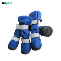 Pet Shoes Reflective Double Band Dog Shoes Waterproof Outdoor Sport Anti Skid High Tube Snow Rain
