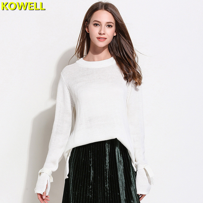 Hot Sale 2018 Jumper Sweater Knitted Pullover Womens Clothing Fashion Spring Bow Loose Full Sleeve O-Neck Solid Color Women Tops