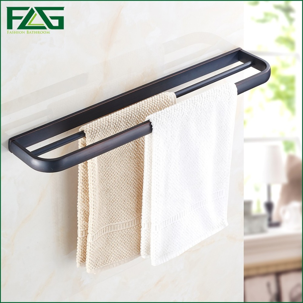 FLG Free shipping,Dou. Towel Bar,Towel Holder,Solid Brass Made,Oil Rubbed Bronze,Bath Products,Wall Bathroom Accessories 81308 free shipping ba9105 bathroom accessories brass black bronze toilet paper holder