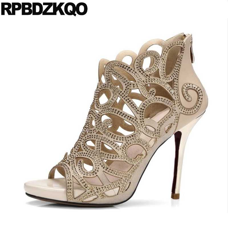 046ac27db69c5 Extreme Luxury Peep Toe Rhinestone Sandals Stiletto Short Cut Out Summer  Brand Shoes Women Booties Beige