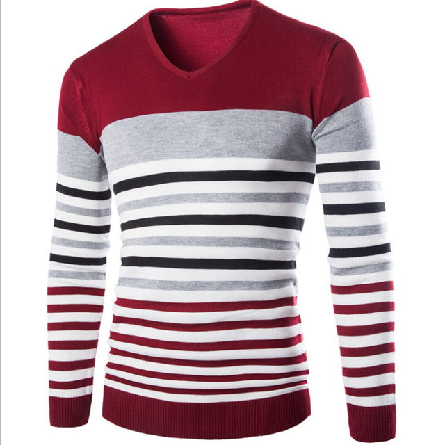 Hot Sale High Quality Fashion Comfortable New Temperament Men Sweaters O Collar Long Sleeved Knit Shirt Stripe Sweaters Men