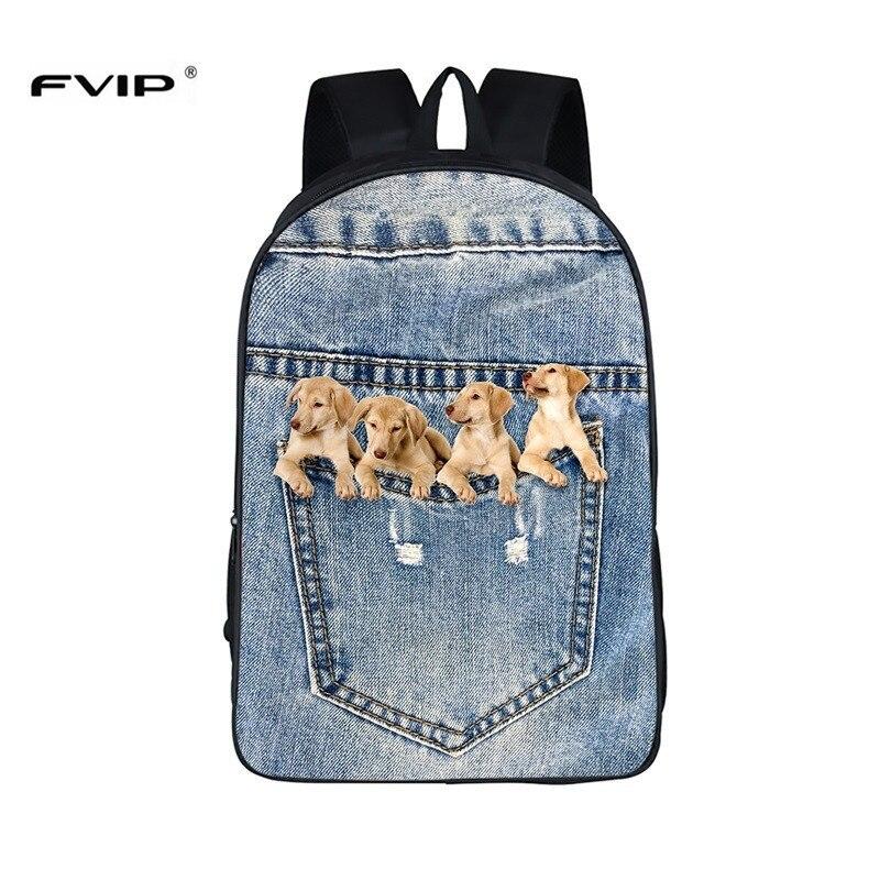 FVIP 16 Inch High Quality Denim Backpack 3D Cute Cat School Bag Anima Laptop Ipad Printing Dog Backpacks Mochila Masculina 16 inch 3d denim cute cat backpack for teenagers boys girls animal dog printing school bags mochila bolsas escolar