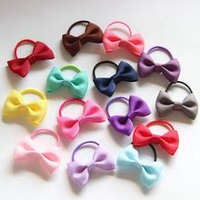 10Pcs/lot Small Ribbon Bow with elastic hair bands kids accessories bowknot tie Girls Hair ropes gum A200