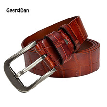 GEERSIDAN 2019 Vintage pin buckle cow genuine leather belt for men high quality luxury fashion jeans mens cinturones hombre
