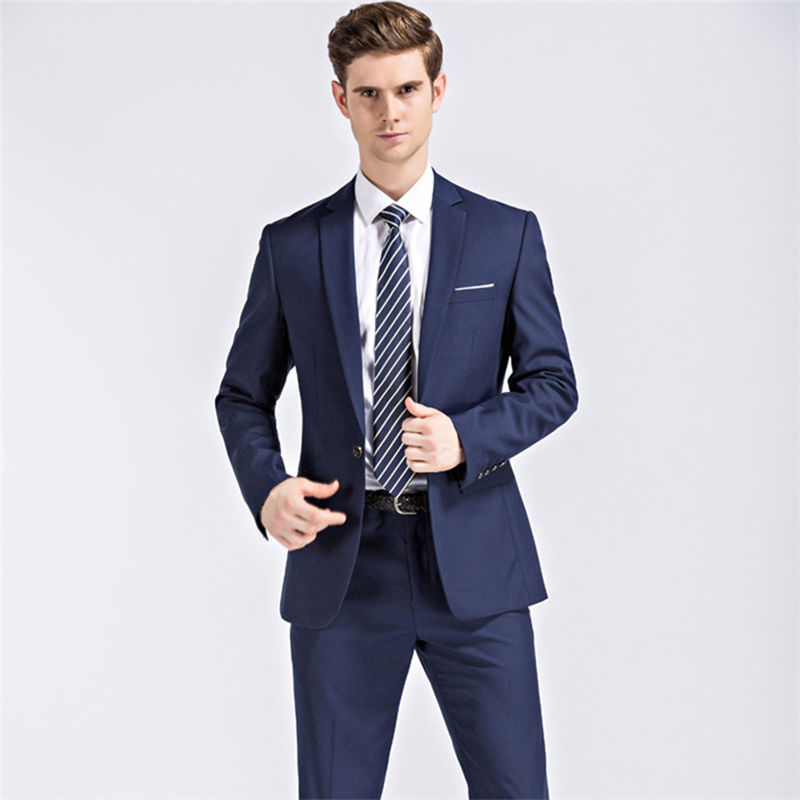 LN033 New 2 Colors High Quality Worsted Navy Blue Suits Men's ...