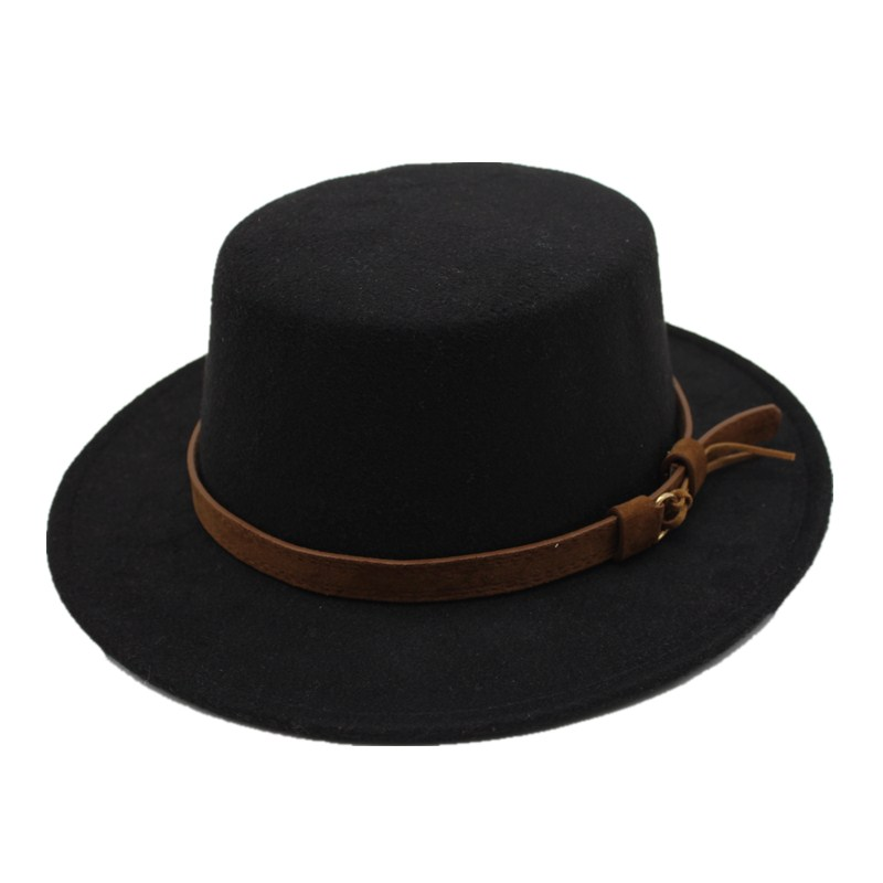 6c9c0d35494c27 Seioum Black Wool Wide Brim Bowler Trilby Fedora Hat for Women Plain Flat  Lady Felt Hats