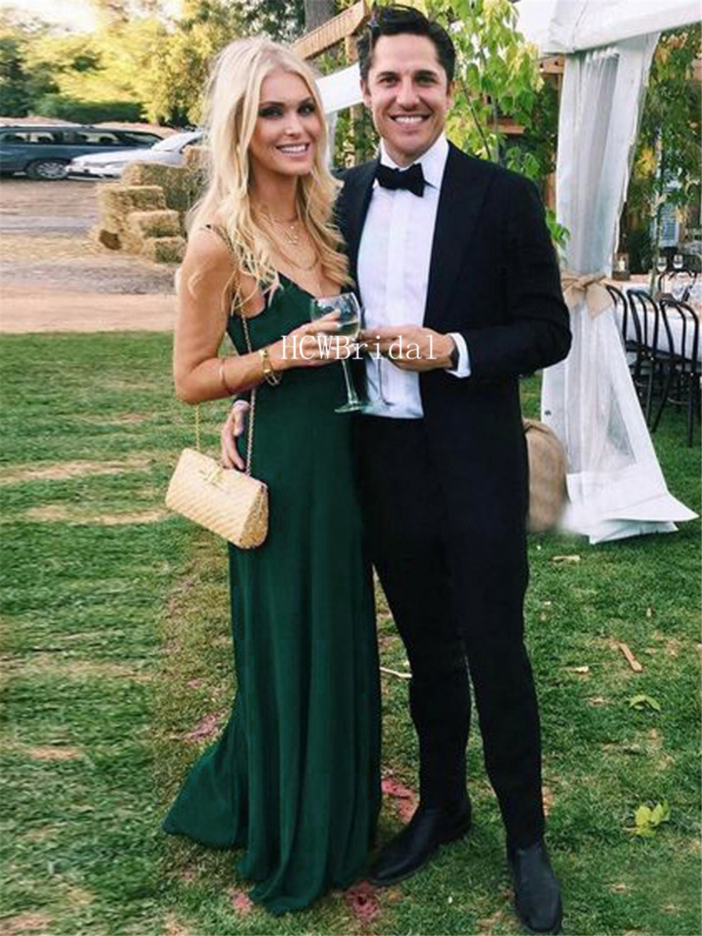 Long Green   Prom     Dresses   Backless V Neck A Line Floor Length Elegang Party   Dress   2019 Cheap Long Formal Evening Gowns