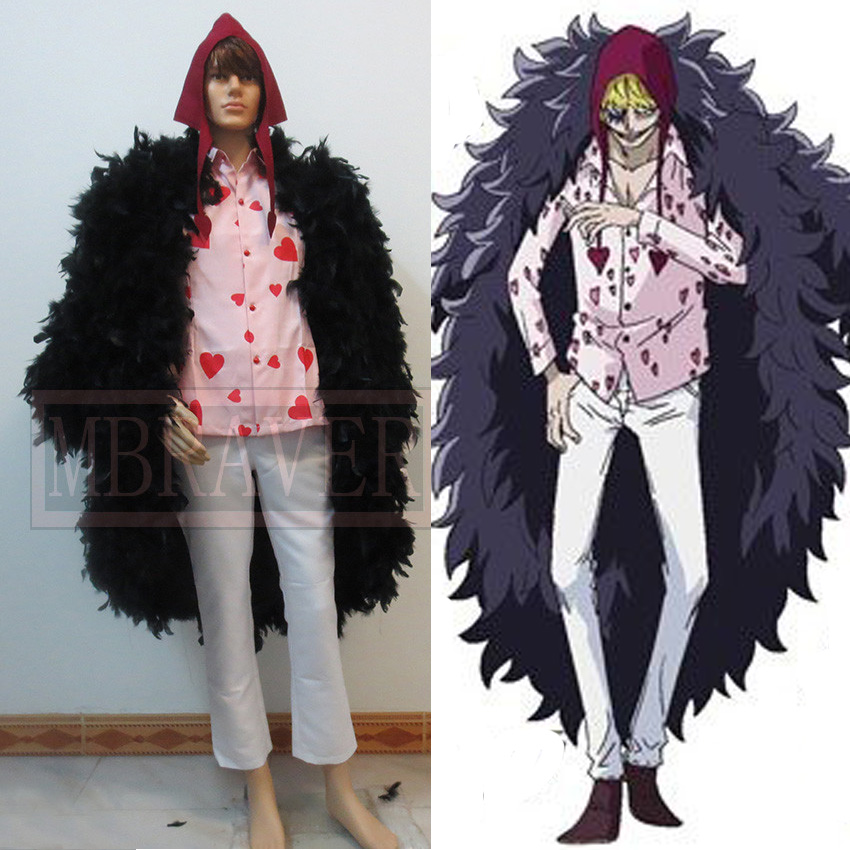 One Piece donquixote rosinante corazon Cosplay traje Plumas capa + camisa +  Pantalones + sombrero por encargo cualquier tamaño 84b6c69bb36