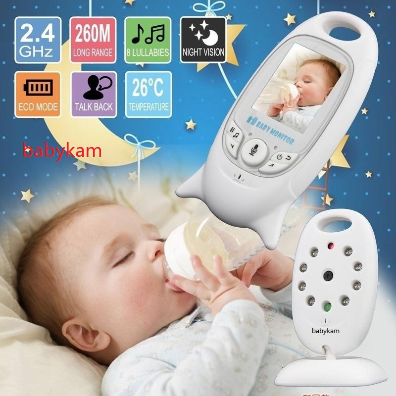 Babykam Radio babysitter monitor IR night vision 2 way talk Temperature monitor Multi-language radio nanny baby sitter monitor baby sleeping monitor night vision 2 way talk lullaby temperature monitor 2 4 inch lcd digital wireless nanny radio babysitter