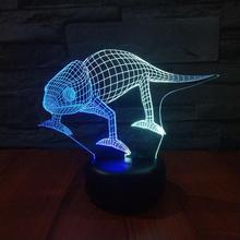 Creative Visual Touch Charging 3d Lamp Atmosphere Gift Novelty Lights With Chameleon Led 3d Night Light